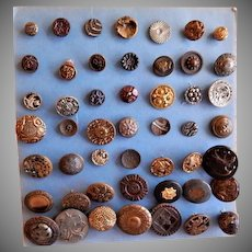 Nineteenth & Early Twentieth Century Metal Buttons for Sewing - Collection of 47