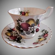 "Royal Albert Bone China ""Fruits & Flowers"" Pattern Tea Cup & Saucer"