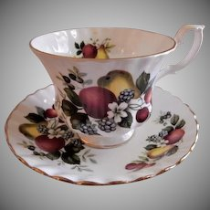 "Royal Albert Bone China ""Fruits & Flowers"" Pattern Tea Cup & Saucer"
