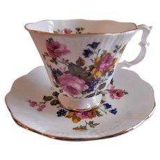 "Royal Albert Bone China ""Pink Roses & Blue Blossoms"" Pattern Tea Cup & Saucer"