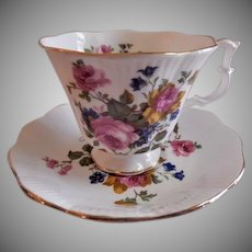 "Royal Albert Bone China ""Pink Roses & Blue Blossoms"" Pattern Tea Cup & Saucer"