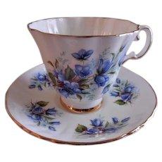 "Royal Grafton Bone China ""Blue Wild Flowers"" Pattern Tea Cup & Saucer"