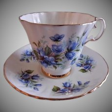 "Royal Grafton Bone China ""Blue Wild Flowers"" Pattern Tea Cup & Saucer"