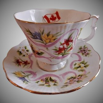 "Royal Albert Bone China ""Canada Our Emblems Dear"" Pattern Tea Cup & Saucer"