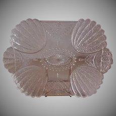 """EAPG - Clear """"Shell & Tassel"""" Rectangular Tray"""