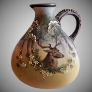 Nippon Moriage Hand Painted Jug w/Stag in a Forest Motif (Morimura Brothers)