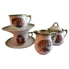 """German Child's China """"Tea Party for Dolls & Pets"""" - 7 Pieces"""