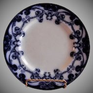 "A. J. Wilkinson - Royal Staffordshire Pottery - Flow Blue ""Iris"" Pattern Luncheon Plate"