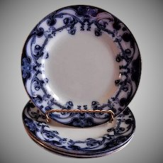 "A. J. Wilkinson - Royal Staffordshire Pottery - Flow Blue ""Iris"" Pattern Set of 4 Dessert Plates"