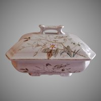 "Alfred Meakin Transferware Ironstone China ""Morning Glory"" Pattern Covered Sauce Tureen"