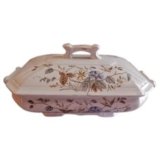 "Alfred Meakin Transferware Ironstone China ""Morning Glory"" Pattern Covered Vegetable Tureen"