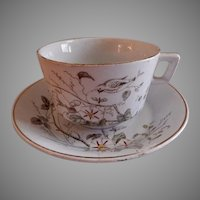 "Alfred Meakin Transferware Ironstone China ""Morning Glory"" Pattern Cups & Saucers - Set of 4"
