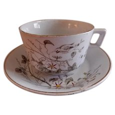 """Alfred Meakin Transferware Ironstone China """"Morning Glory"""" Pattern Cups & Saucers - Set of 4"""
