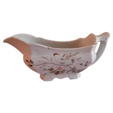 "Alfred Meakin Transferware Ironstone China ""Morning Glory"" Pattern Gravy Boat"