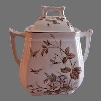 "Alfred Meakin Transferware Ironstone China ""Morning Glory"" Pattern Covered Sugar Bowl"