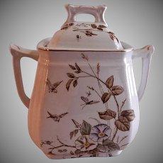 "Alfred Meakin Transferware Ironstone China ""Morning Glory"" Pattern Covered Sugar Bowl"