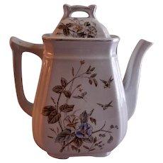 "Alfred Meakin Transferware Ironstone China ""Morning Glory"" Pattern Coffee Pot"