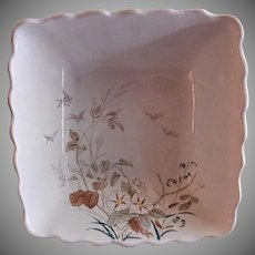 "Alfred Meakin Transferware Ironstone China ""Morning Glory"" Pattern Square Serving Bowl"