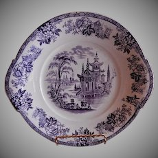 "William Brownfield Purple Transferware ""Madras"" Pattern Shallow Bowl/Tray"