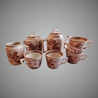 """Charles Allerton & Sons Brown Transfer-ware Child's Tea Set """"Little Mae with Dog"""" Pattern"""