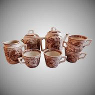 "Charles Allerton & Sons Brown Transfer-ware Child's Tea Set ""Little Mae with Dog"" Pattern"