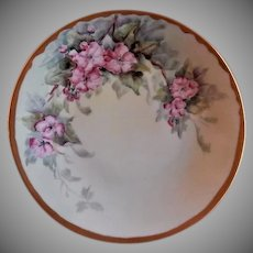 Bernardaud & Company France Hand Painted Cabinet Plate w/Apple Blossoms Motif
