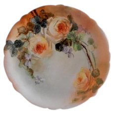 Jean Pouyat (JPL) Limoges Hand Painted Cabinet Plate w/Yellow Roses Motif