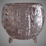 Etched & Cut Crystal Footed Rose Bowl Vase