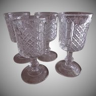Paneled English Hobnail Stemmed Wine Glasses - Set of 4