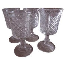 Paneled English Hobnail Stemmed Wine Glasses - Set of 4