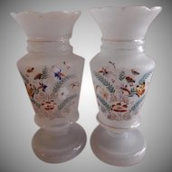 (Pair) Victorian Bristol Glass Vases w/Hand Painted Floral & Butterfly Motif