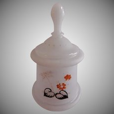 Victorian Bristol Glass Covered Jar w/Hand Painted Floral Motif