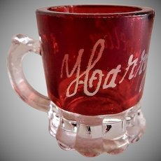 Ruby Stained Miniature Mug Souvenir Toothpick Holder - 1904