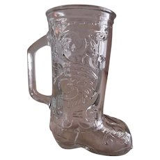 Vintage Glass Western Cowboy Boot Candy Container/Handled Mug