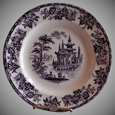 "William Brownfield Mulberry Transferware ""Madras"" Pattern Plate"