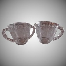 "Tiffin ""Cherokee Rose"" Pattern Sugar & Creamer Set"