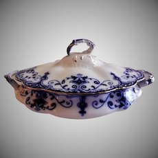 "Johnson Bros Blue Flow ""Jewel"" Pattern Oval Covered Vegetable Tureen"