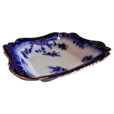 """Wheeling Pottery Flow Blue """"LaBelle"""" Rectangular Open Vegetable Bowl"""