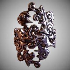 """Alfred Villasana Sterling Silver """"Repousse"""" Clamper Cuff Bracelet"""