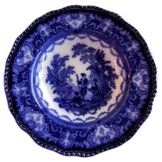 "Doulton Burslem Flow Blue ""Watteau"" Pattern Soup Bowl"