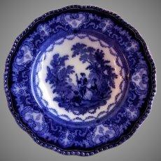 "Doulton Burslem Flow Blue ""Watteau"" Pattern Soup Bowl"