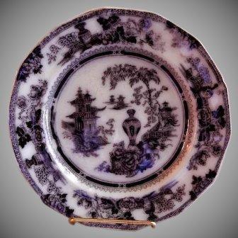 "W Adams & Sons Ironstone Black Transfer ""Jeddo:"" Pattern Plate"
