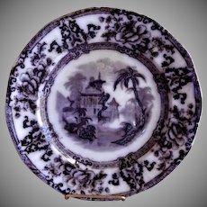 "Davenport Ironstone Black Transfer-Ware ""Cyprus"" Pattern Plate"
