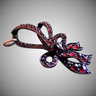 """Victorian Bohemian Rose Cut Garnet """"Bow"""" Pendant"""