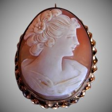 "Victorian Era Shell Cameo ""Lady's Profile"" Brooch/Pendant w/Gold Filled Mounting"