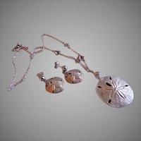 """J & C Ferrarar Sterling Silver """"Sand Dollar & Sea Gulls"""" Necklace & Pierced Earrings Set"""