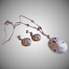 "J & C Ferrarar Sterling Silver ""Sand Dollar & Sea Gulls"" Necklace & Pierced Earrings Set"