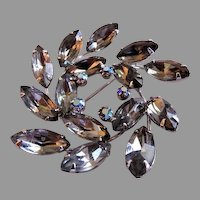 Juliana (DeLizza & Elster) Silver-Tone, Smoke & Aura Borealis Rhinestone Wreath-Shaped Brooch