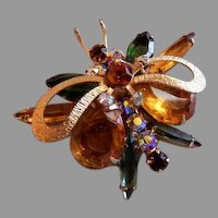 "Juliana (DeLizza & Elster) Gold-Tone & Colored Rhinestone ""Insect"" Brooch"