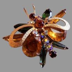 """Juliana (DeLizza & Elster) Gold-Tone & Colored Rhinestone """"Insect"""" Brooch"""